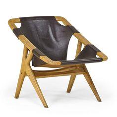 Arne Ruud, Holmenkollen For Norcraft Lounge Chair, Oak, leather, brass, Denmark, 1960s