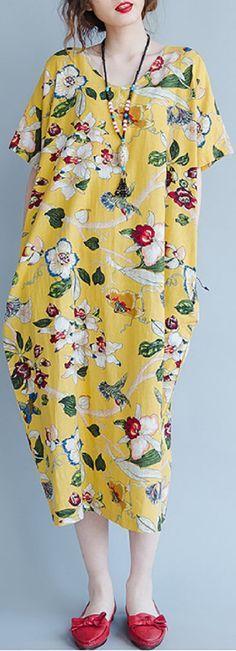 US$ 18.35 Gracila Floral Short Sleeve V Neck Pocket Loose Women Dresses