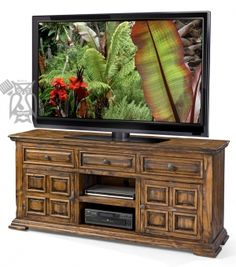 """Solid Pine Old World 72"""" Rustic Pine TV Stand in Chocolate Finish"""