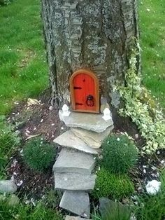 magic world puts a door in the tree trunk