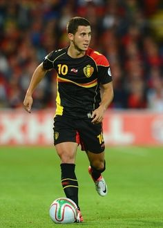 Eden Hazard of Belgium in action during the FIFA 2014 World Cup Group A Qualifier between Wales and Belgium