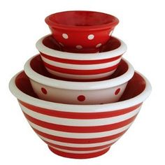 Red and white bowls