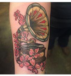"""Gramophone tattoo by Jake Omen at Kustom Thrills Tattoo in Nashville TN #tattoo #tattoos #tat #tattooartist #ink #inked #nashvilletattoo…"""""""