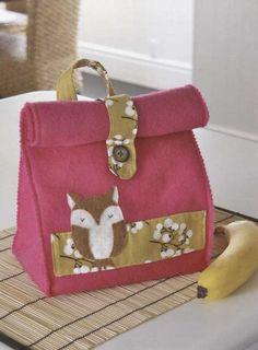 Owl Lunch Bag Handbag Wallet Felt embroidery stitch sewing applique patchwork quilt PDF E Patterns. $5.00, via Etsy.