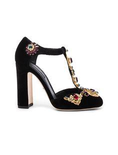 Dolce & Gabbana Jewel Embellished Velvet T Strap Heels in Black | FWRD