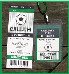 Soccer Party Ticket Invitation & All Star Pass