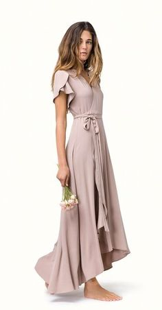 Cringe-Free Bridesmaid Dress Ideas: Romantic Pink Dress With Ruffles and Short Sleeves // See 8 more Options: (http://la.racked.com/2016/1/20/10786400/bridesmaid-dresses-wedding-los-angeles-designers#6256855)