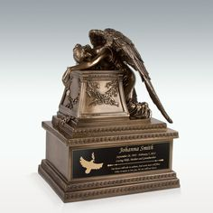 Bronze Finish Weeping Angel Cremation Urn - Engravable - Medium