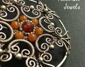 Floral Orange - 925 Sterling and fine Silver and Carnelian Necklace by Natural Jewels at Etsy