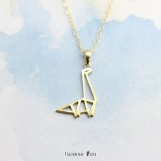 Dinosaure collier, collier Origami, minimaliste collier, collier en argent sterling