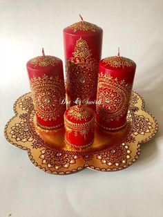 Handmade,red/gold Henna Inspired,Candle Set,Perfect for Wedding table decor/Eid decor /wedding centerpiece/wedding candles/Indian wedding Gold Henna, Diwali Decorations, Wedding Decorations, Decor Wedding, Wedding Table, Hermes Armband, Hermes Bracelet, Henna Candles, Diwali Candles