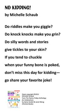 """No Kidding"" ©2015 by Michelle Schaub from THE POETRY FRIDAY ANTHOLOGY®  FOR CELEBRATIONS by Sylvia Vardell and Janet Wong (© Pomelo Books, 2015)."