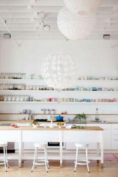 exposed shelves.