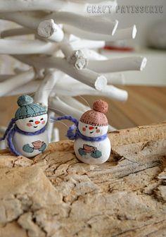 Snowini family cold porcelain handmade Christmas decor
