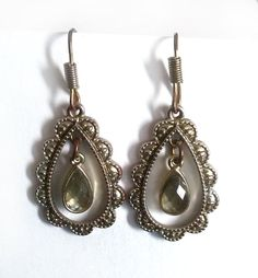 Silver Tone Teardrop  Earrings with a Clear Teardrop by Urmelshop
