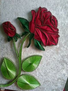 A beautiful string and nail art rose. Such talent!You can find Nail string art and more on our website.A beautiful string and nail art rose. Such talent! String Art Diy, String Crafts, Resin Crafts, Art Rose, Rose Nail Art, String Art Templates, String Art Patterns, String Art Tutorials, Doily Patterns