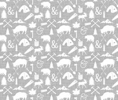 The Woodcutter // Gray Linen fabric by ivieclothco on Spoonflower - custom fabric
