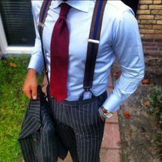 Suit with braces Suspenders Fashion, Suspenders Outfit, Braces Suspenders, 1950s Fashion, Mens Fashion, Fashion Outfits, Mens Braces, Moda Casual, Professional Attire