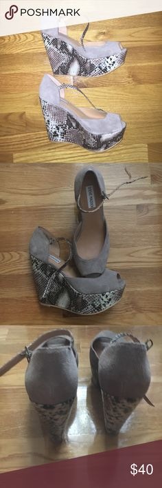 Steve Madden snake wedges Brand new and never worn! Very comfortable and has a high height about 4 inches. Steve Madden Shoes Wedges
