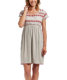 Another great find on #zulily! Gray & Red Embroidered Empire-Waist Dress #zulilyfinds