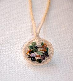Crochet necklace with gemstones crochet jewelry