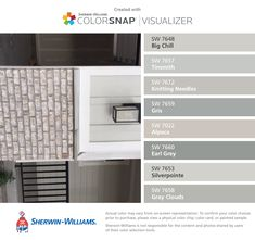 Boral Magnolia Bay Brick with gray mortar and coordinating colors with ColorSnap® Visualizer for iPhone by Sherwin-Williams: Big Chill (SW 7648), Tinsmith (SW 7657), Knitting Needles (SW 7672), Gris (SW 7659), Alpaca (SW 7022), Earl Grey (SW 7660), Silverpointe (SW 7653), Gray Clouds (SW 7658). Ivory Homes.