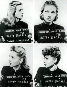 "*-* hair - Lauren Bacall's hair tests for To Have and Have Not. The card says ""Betty Bacall"" as Bacall's born name was Betty Joan Perske."