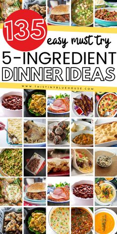 135 easy delicious 5 ingredient dinners split into chicken, beef, pork, fish & meatless categories. Simplify your meal plan with these easy meals. easy meals 135 Easy Delicious Dinners - This Tiny Blue House Fast Dinners, Cheap Dinners, Quick Easy Meals, Easy 5, Inexpensive Meals, Supper Recipes, Easy Dinner Recipes, Supper Ideas, 5 Ingredient Dinners