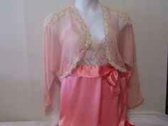 SALE + Free Ship Victoria Secret Peignoir Set Peach Long Nightgown Negliegee Sheer Chiffon Jacket Bridal Honeymoon Resort Cruise Wear
