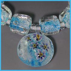 Ikuyoglassart Handmade Lampwork flower murrini Bead set sra