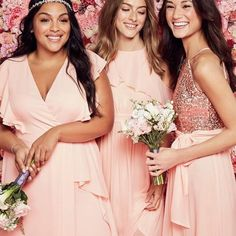 This chiffon bridesmaid gown\'s ruffled, off-the-shoulder sleeves create a soft and romantic look, as knee-length lining shows through the long sheer skirt.  Reverie, exclusively at David\'s Bridal  P