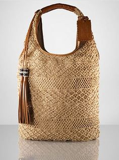 ralph lauren jute crochet bag