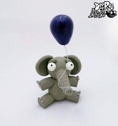 Elephant with a Balloon by Dee Raa Arts polymer clay cute kawaii sculpey fimo https://www.facebook.com/DeeRaaArts