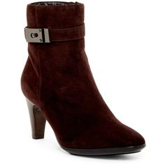 Aquatalia Danele Weatherproof Almond Toe Bootie ($260) ❤ liked on Polyvore featuring shoes, boots, ankle booties, ankle boots, espresso, ankle strap booties, high heel ankle booties, ankle strap bootie, leather bootie and leather boots