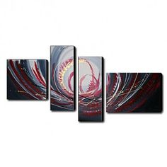 Hand-painted Oil Painting Abstract Oversized Landscape Set of 4 - OutletsArt.com