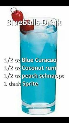Cocktail with Blue Curacao, coconut rum, peach schnapps and sprite. Rum Cocktails, Liquor Drinks, Cocktail Drinks, Beverages, Peach Schnapps Drinks, Martinis, Funny Cocktails, Alcholic Drinks, Non Alcoholic Drinks
