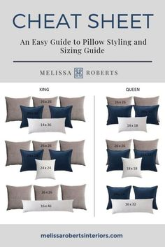 Ornamental Pillows + Pillow Dimension Chart + Mix and Match Pillow Combinations Dream Bedroom, Home Bedroom, Master Bedrooms, Guest Bedrooms, Navy Bedroom Decor, Bedroom Wall Decor Above Bed, Bedroom Couch, Romantic Bedroom Decor, Bedding Master Bedroom