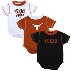 Texas Longhorns Infant 3-Pack Bodysuit Creeper Set - Burnt Orange/White/Black