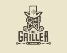 The Griller - Logo Design - Logomark, Grill, Man figure, Moustache, Steampunk, Gears, Cogs, Burger, Cafe, Gray