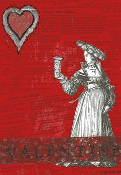 Swapbot Hand Made Postcard Group - Something Red swap. Discarded Shakespeare page of Romeo and Juliet, acrylic paint, with a clip art Medieval lady, napkin trim, and rubber stamps. Sent early to beat the Valentine's Day rush. ( Mandy's will have to w http://www.tpt-fonts4teachers.blogspot.com/2013/01/san-valentines-day-free-clip-arts.html