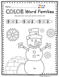 WORD FAMILIES - Snowman CVC and high frequency words for kindergarten and first grade literacy centers Math Literacy, Literacy Stations, Literacy Centers, Kindergarten Reading, Kindergarten Activities, Winter Activities, Family Activities, First Grade Phonics, Freebies