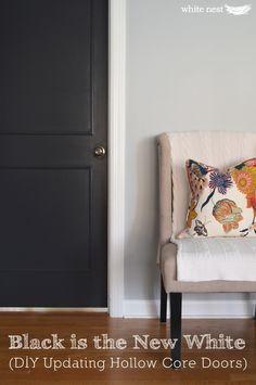 DIY Updating Hollow Core Doors | White Nest | Black interior doors | Benjamin Moore Graphite #interiordesign #DIY #renovate