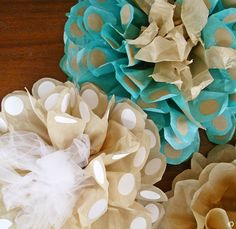 Polka Dot Tissue Paper Flowers! Large flowers with fun dots made using round labels! Easy DIY!