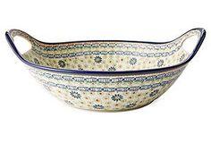 Large Handled Bowl - Polish Pottery