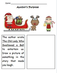 FREEBIE  Author's Purpose using There Was an Old Lady Who Swallowed a Bell
