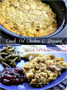 Crock Pot Chicken  Dressing: I love this recipe, because you just layer everything in the crock pot and let it do its magic. It doesnt get any easier than that. #crockpot #crockpot #recipes #slowcooker #recipe #food