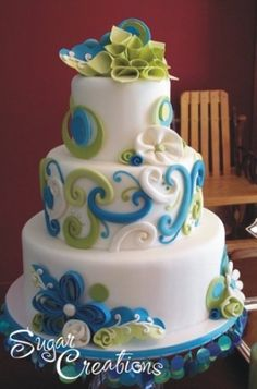 swirls in blue, green, white by mollie