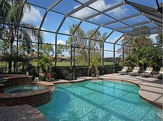 Screened in Pool with Golf view near the Gulf of Florida.