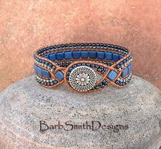 Interesting clasp treatment Blue Cobalt Silver Cuff Bracelet The Diamond by BarbSmithDesigns: Bracelets Wrap En Cuir, Beaded Wrap Bracelets, Beaded Jewelry, Jewelry Bracelets, Jewellery, Pat Bo, Beaded Leather Wraps, Leather Cord, Bordado Floral