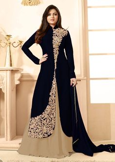 34 Most Beautiful Indo Western Outfits Party Wear Women Indian Gowns Dresses, Pakistani Dresses, Girls Dresses, Designer Gowns, Indian Designer Wear, Indian Designers, Designer Sarees, Western Outfits, Indian Outfits